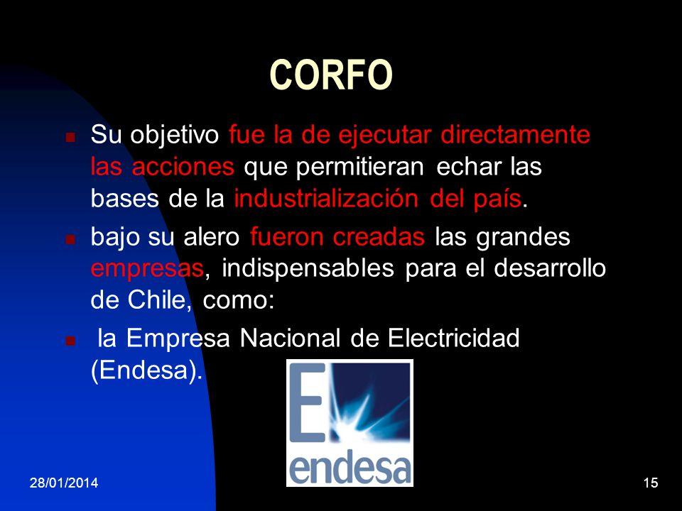 CORFO Su objetivo fue la de ejecutar directamente las acciones que permitieran echar las bases de la industrialización del país.