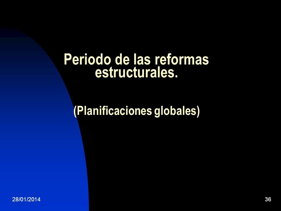 Periodo de las reformas estructurales. (Planificaciones globales)