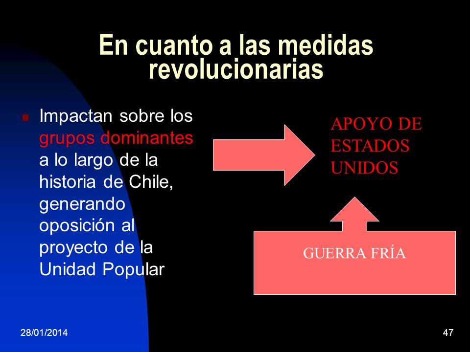 En cuanto a las medidas revolucionarias