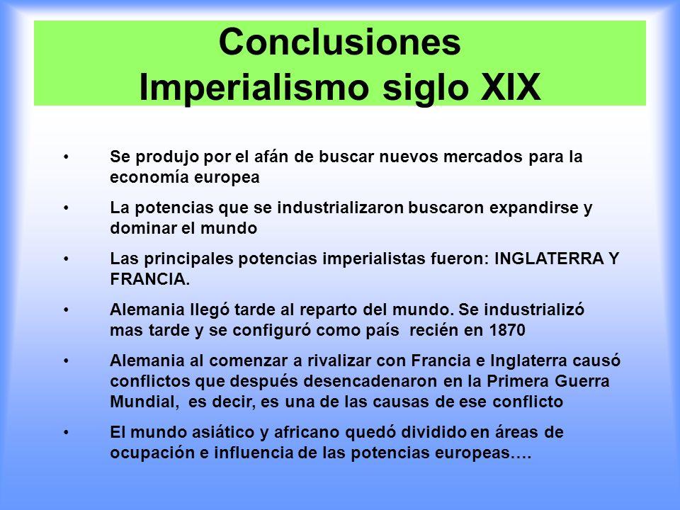 Conclusiones Imperialismo siglo XIX