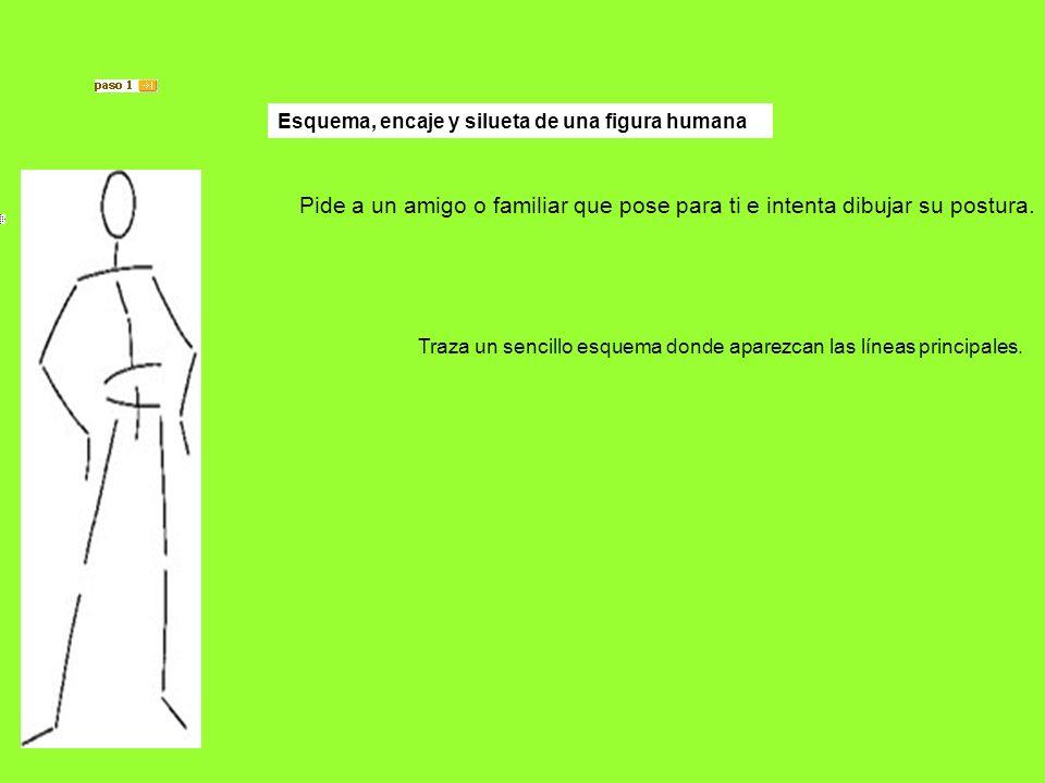 Esquema, encaje y silueta de una figura humana