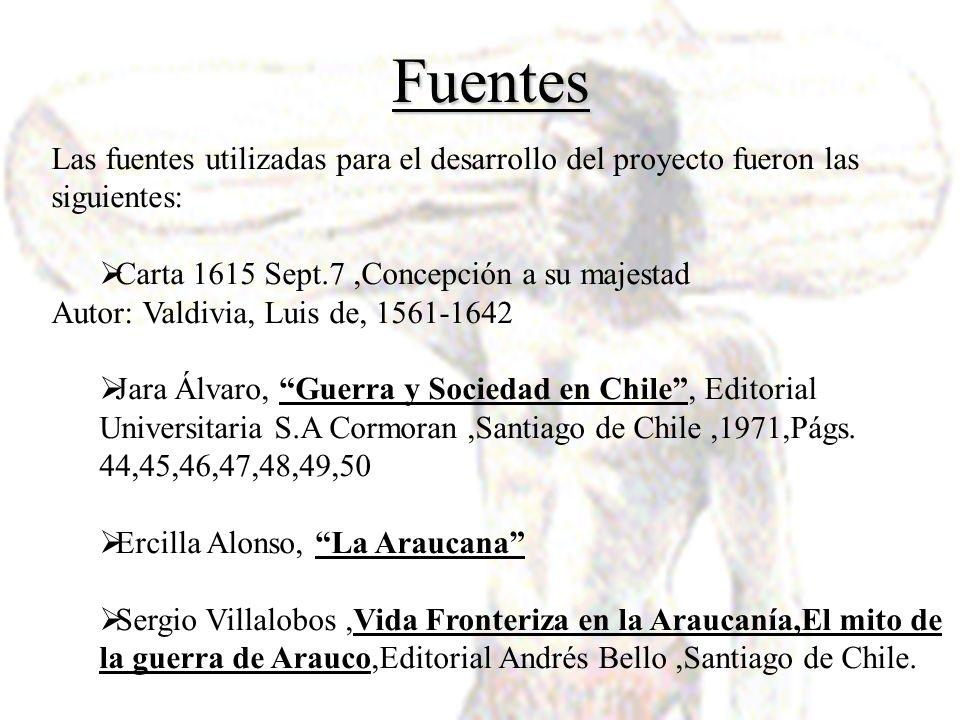 Fuentes Las fuentes utilizadas para el desarrollo del proyecto fueron las siguientes: Carta 1615 Sept.7 ,Concepción a su majestad.
