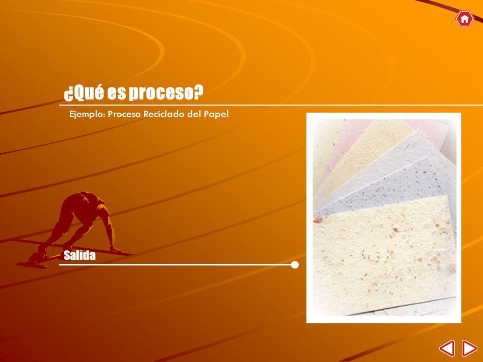 ¿Qué es proceso Ejemplo: Proceso Reciclado del Papel Salida