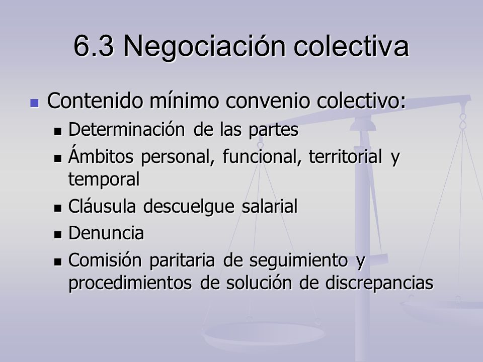 6.3 Negociación colectiva