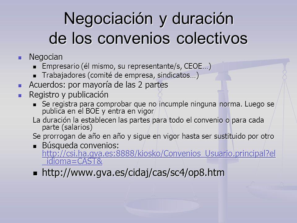 Negociación y duración de los convenios colectivos