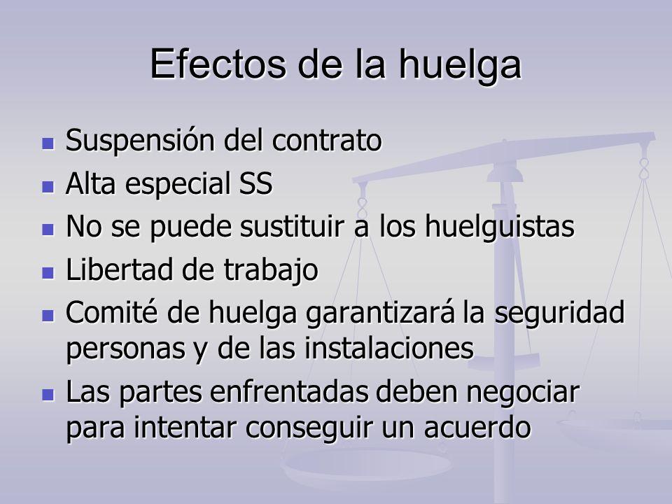 Efectos de la huelga Suspensión del contrato Alta especial SS