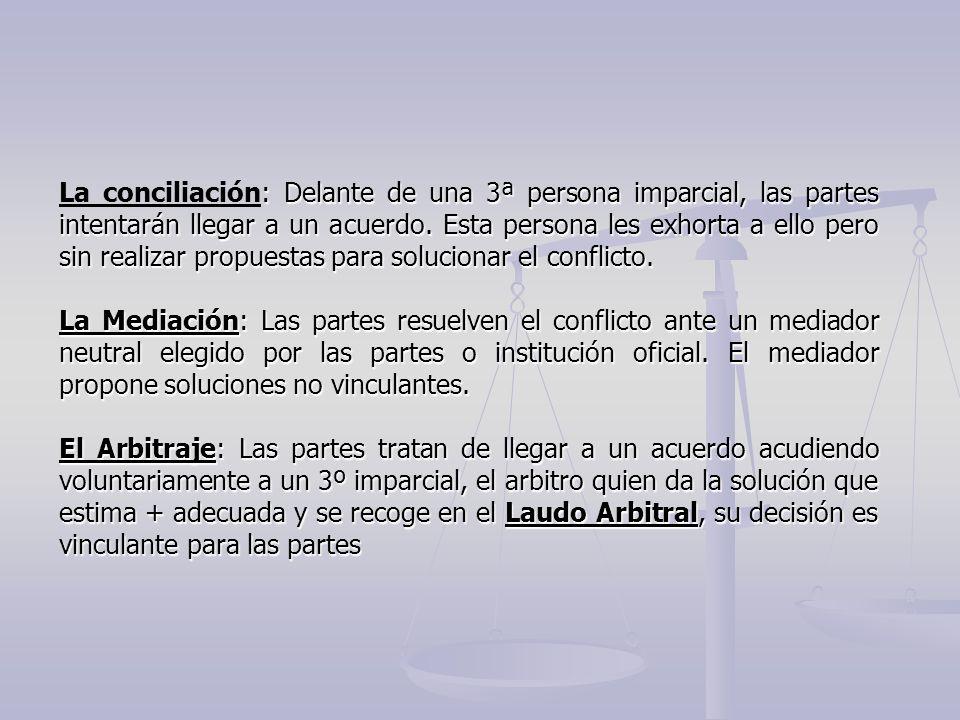 La conciliación: Delante de una 3ª persona imparcial, las partes intentarán llegar a un acuerdo. Esta persona les exhorta a ello pero sin realizar propuestas para solucionar el conflicto.