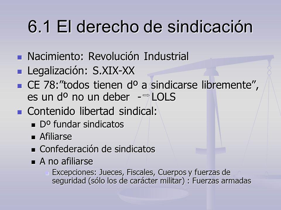 6.1 El derecho de sindicación