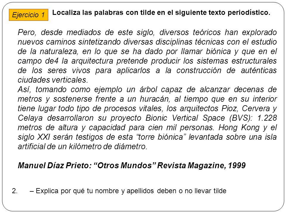 Manuel Díaz Prieto: Otros Mundos Revista Magazine, 1999