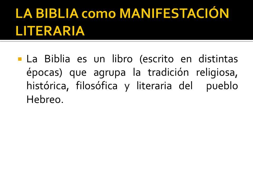 LA BIBLIA como MANIFESTACIÓN LITERARIA