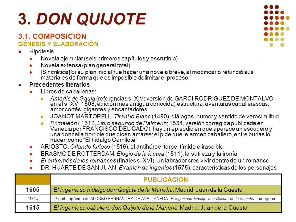 3. DON QUIJOTE 3.1. COMPOSICIÓN PUBLICACIÓN GÉNESIS Y ELABORACIÓN