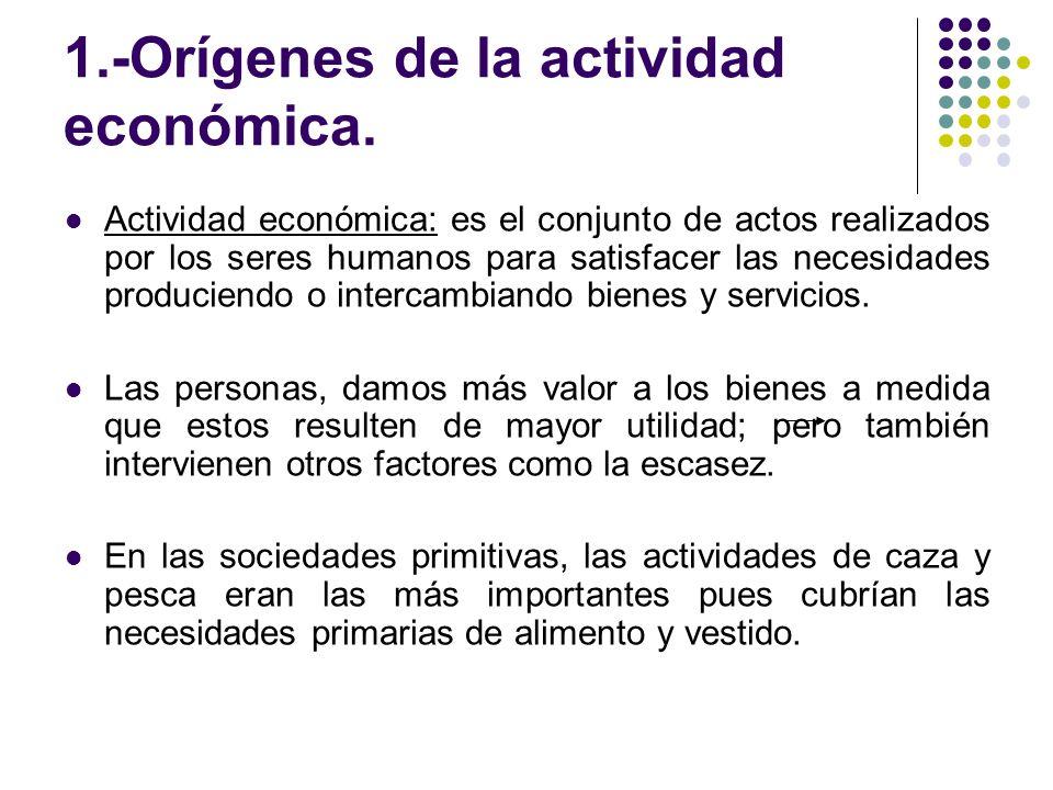 1.-Orígenes de la actividad económica.