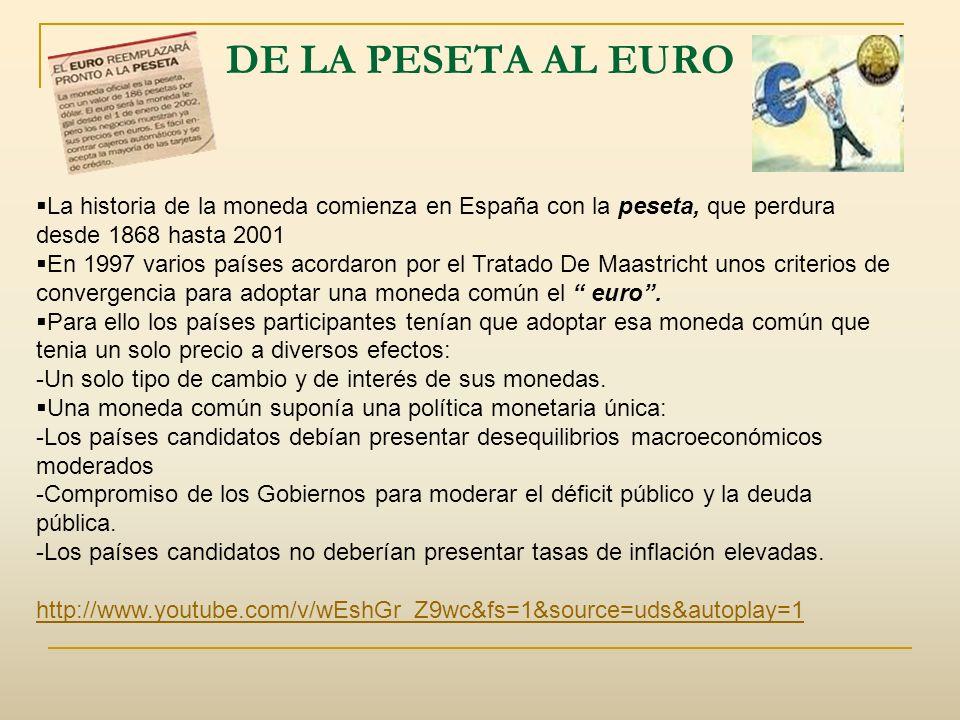 DE LA PESETA AL EUROLa historia de la moneda comienza en España con la peseta, que perdura desde 1868 hasta 2001.