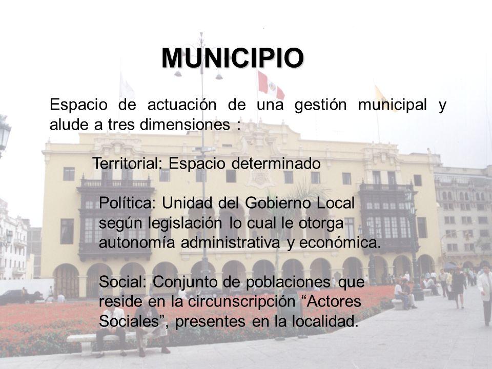 MUNICIPIO Espacio de actuación de una gestión municipal y alude a tres dimensiones : Territorial: Espacio determinado.