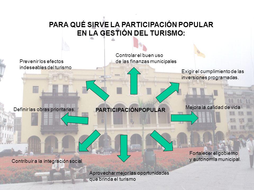 PARA QUÉ SIRVE LA PARTICIPACIÓN POPULAR EN LA GESTIÓN DEL TURISMO: