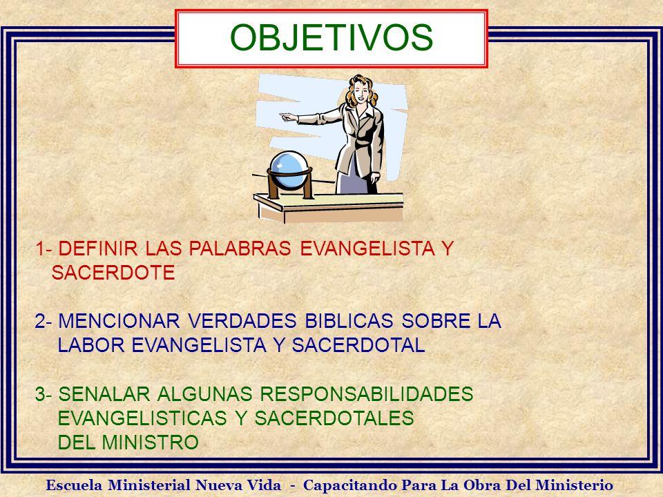 OBJETIVOS 1- DEFINIR LAS PALABRAS EVANGELISTA Y SACERDOTE