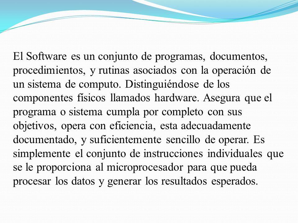 El Software es un conjunto de programas, documentos, procedimientos, y rutinas asociados con la operación de un sistema de computo.