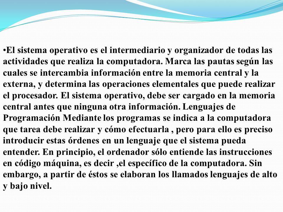 El sistema operativo es el intermediario y organizador de todas las actividades que realiza la computadora.