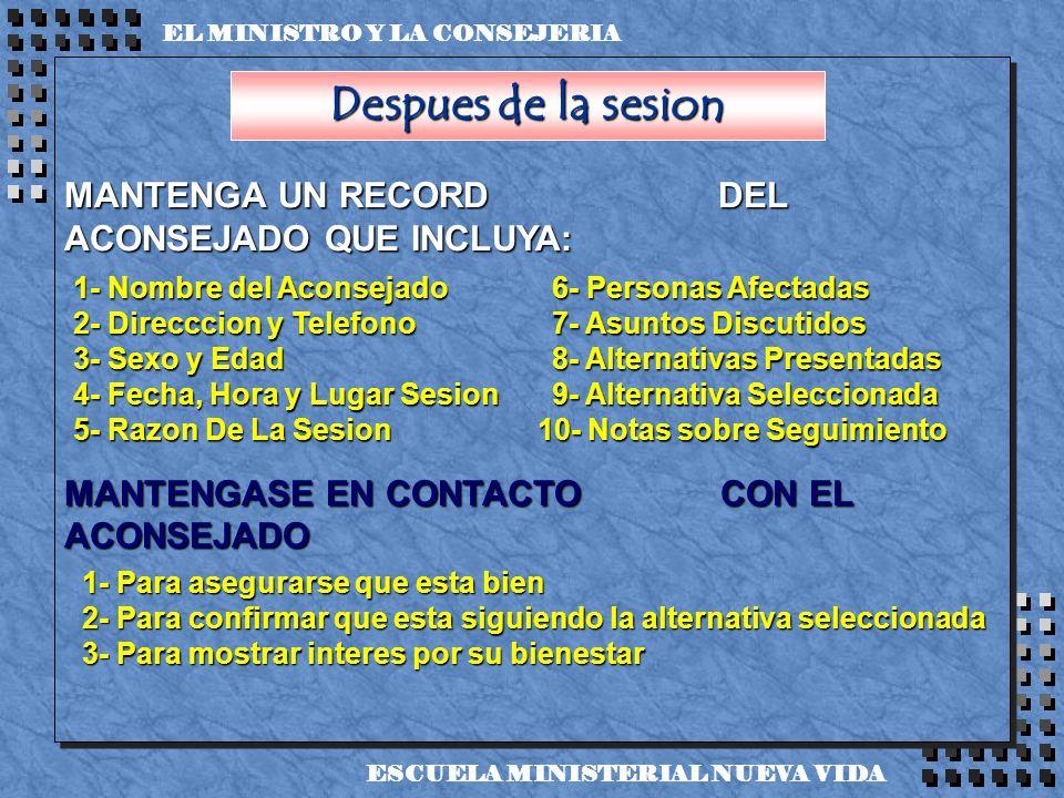 Despues de la sesion MANTENGA UN RECORD DEL ACONSEJADO QUE INCLUYA:
