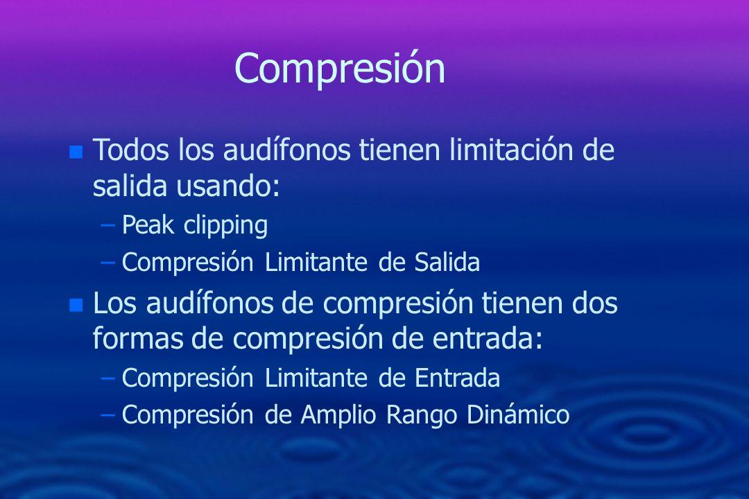 Compresión Todos los audífonos tienen limitación de salida usando: