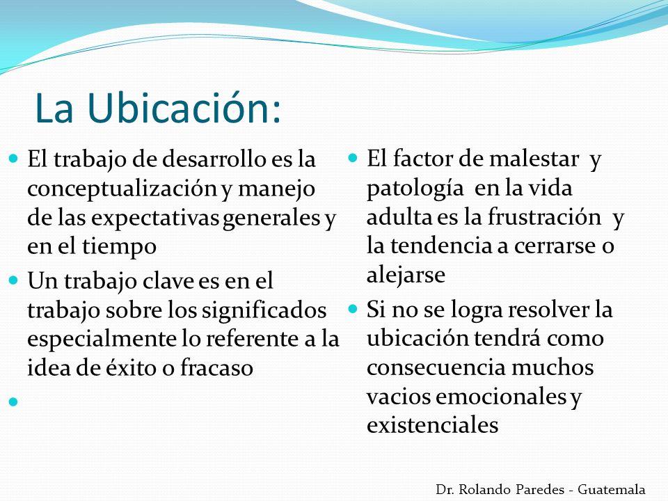 La Ubicación: El trabajo de desarrollo es la conceptualización y manejo de las expectativas generales y en el tiempo.