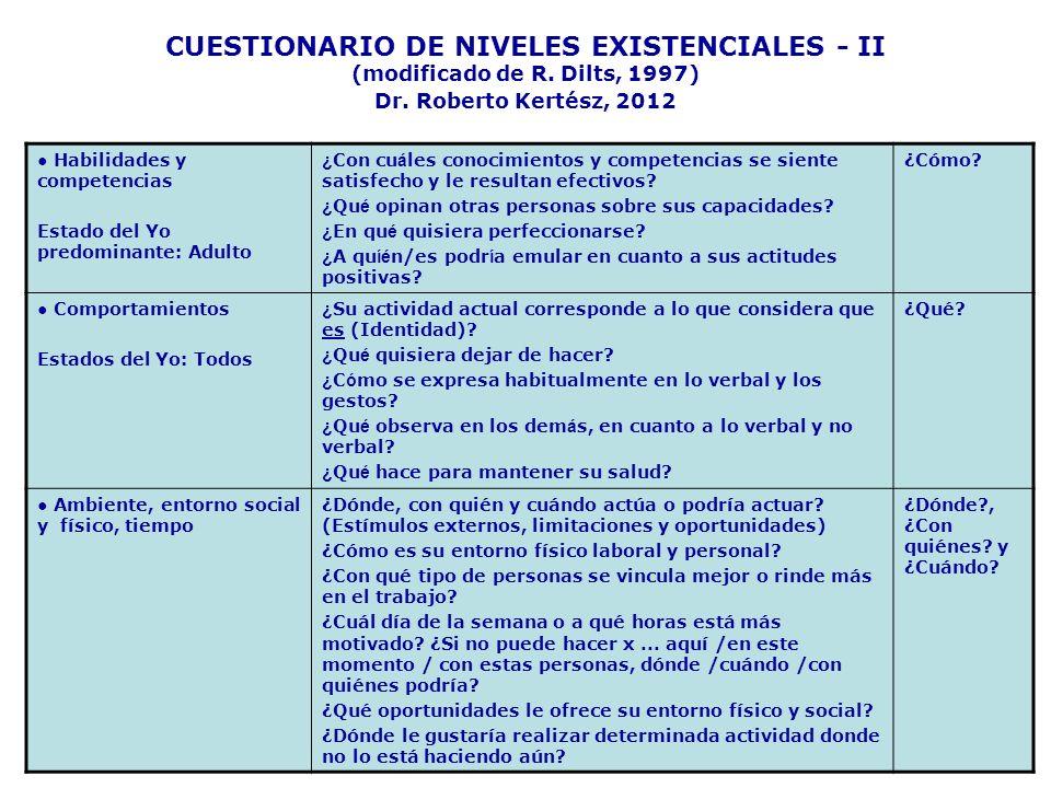 CUESTIONARIO DE NIVELES EXISTENCIALES - II (modificado de R