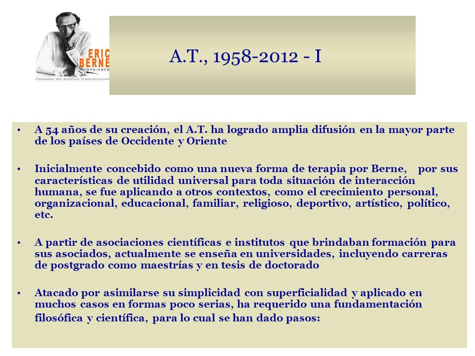 A.T., 1958-2012 - I A 54 años de su creación, el A.T. ha logrado amplia difusión en la mayor parte de los países de Occidente y Oriente.