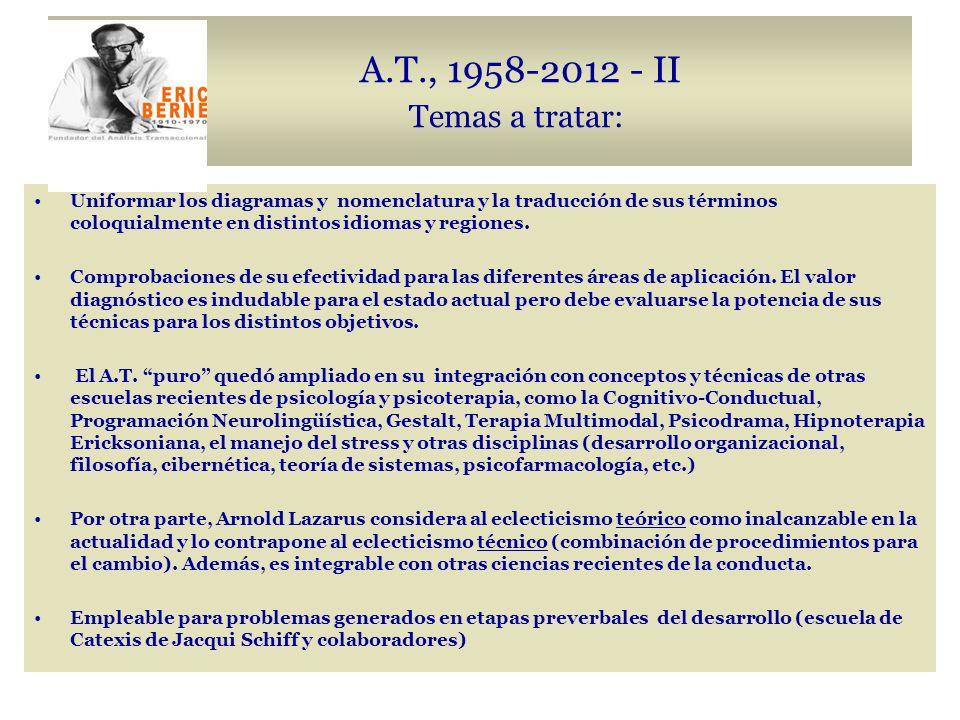 A.T., 1958-2012 - II Temas a tratar: