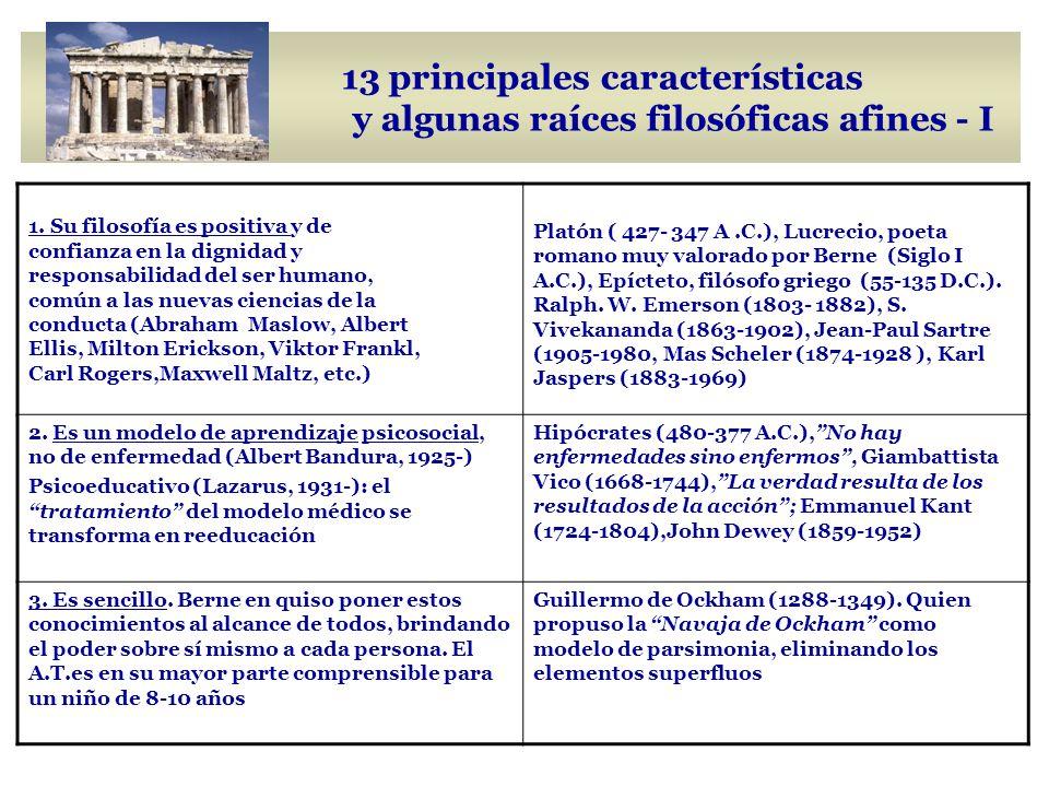 13 principales características y algunas raíces filosóficas afines - I