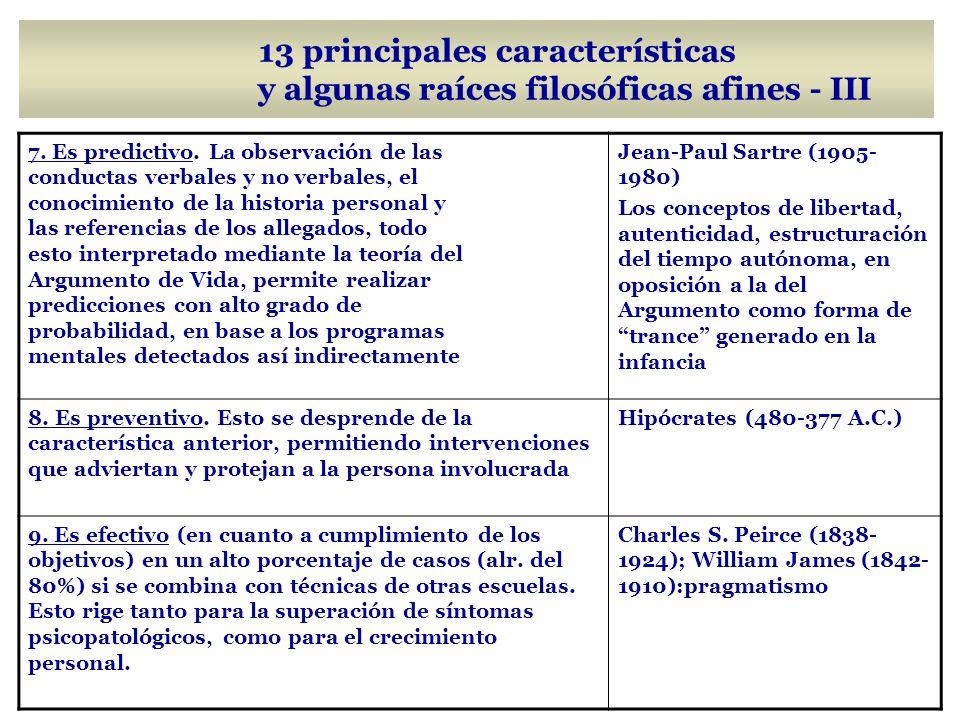 13 principales características y algunas raíces filosóficas afines - III
