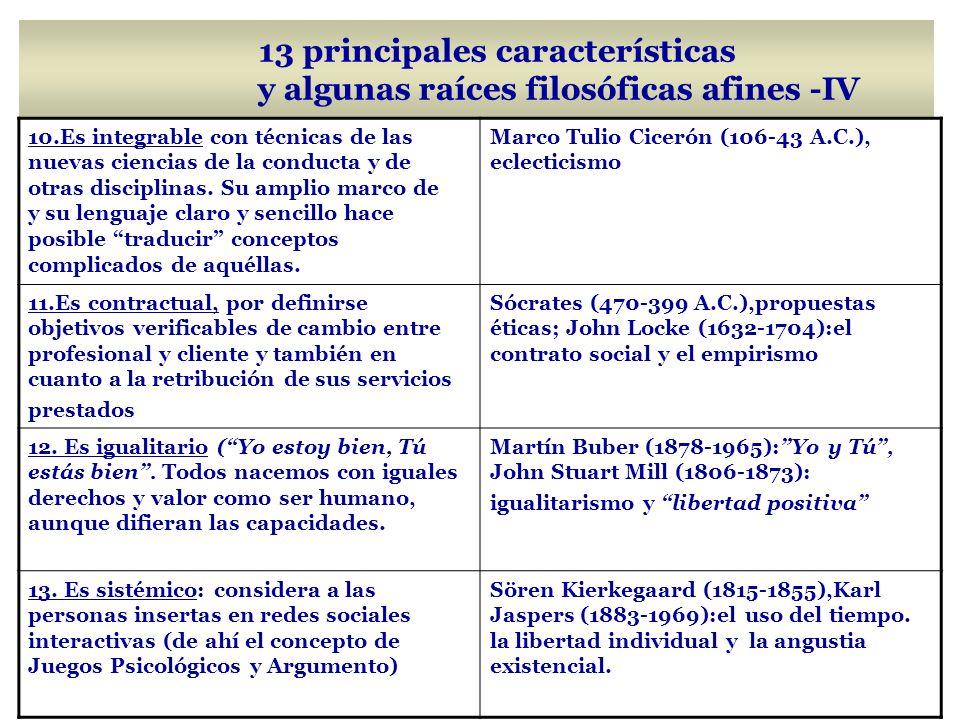 13 principales características y algunas raíces filosóficas afines -IV