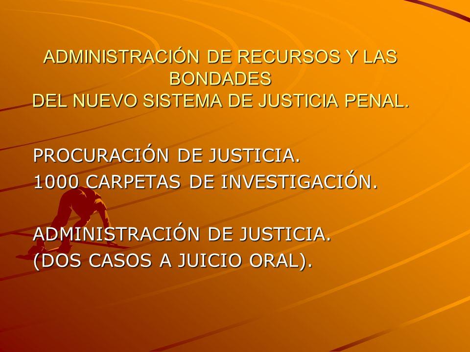 ADMINISTRACIÓN DE RECURSOS Y LAS BONDADES DEL NUEVO SISTEMA DE JUSTICIA PENAL.