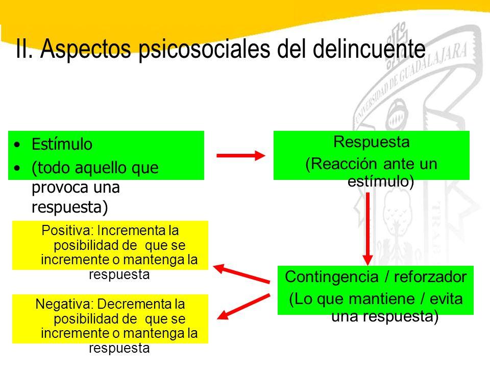II. Aspectos psicosociales del delincuente