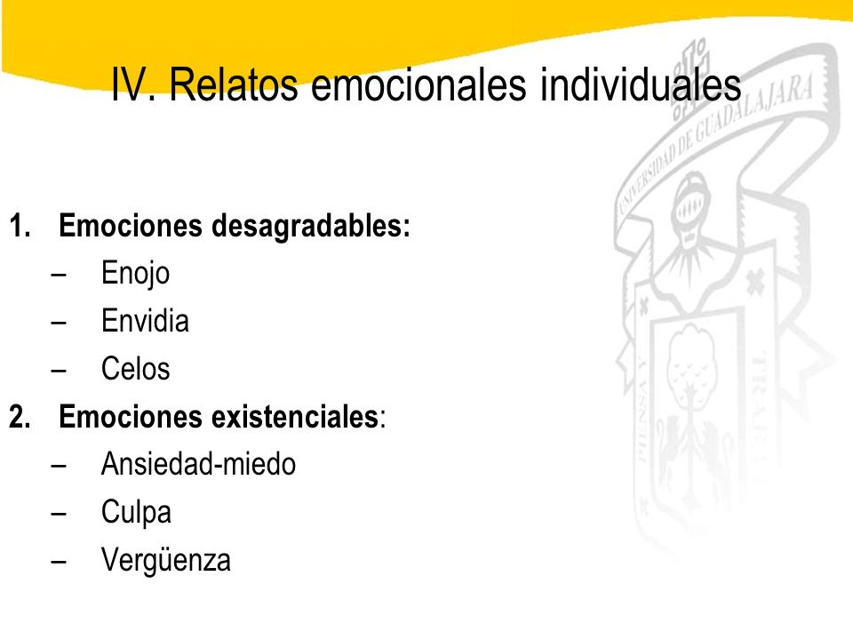 IV. Relatos emocionales individuales