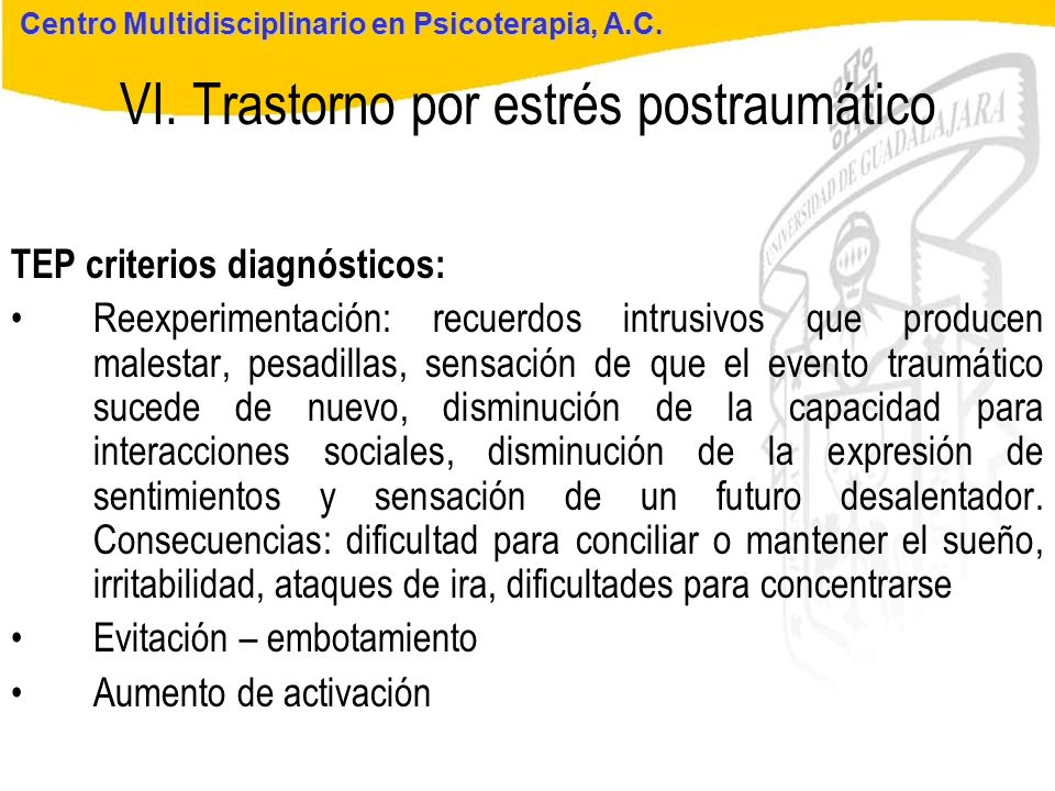 VI. Trastorno por estrés postraumático