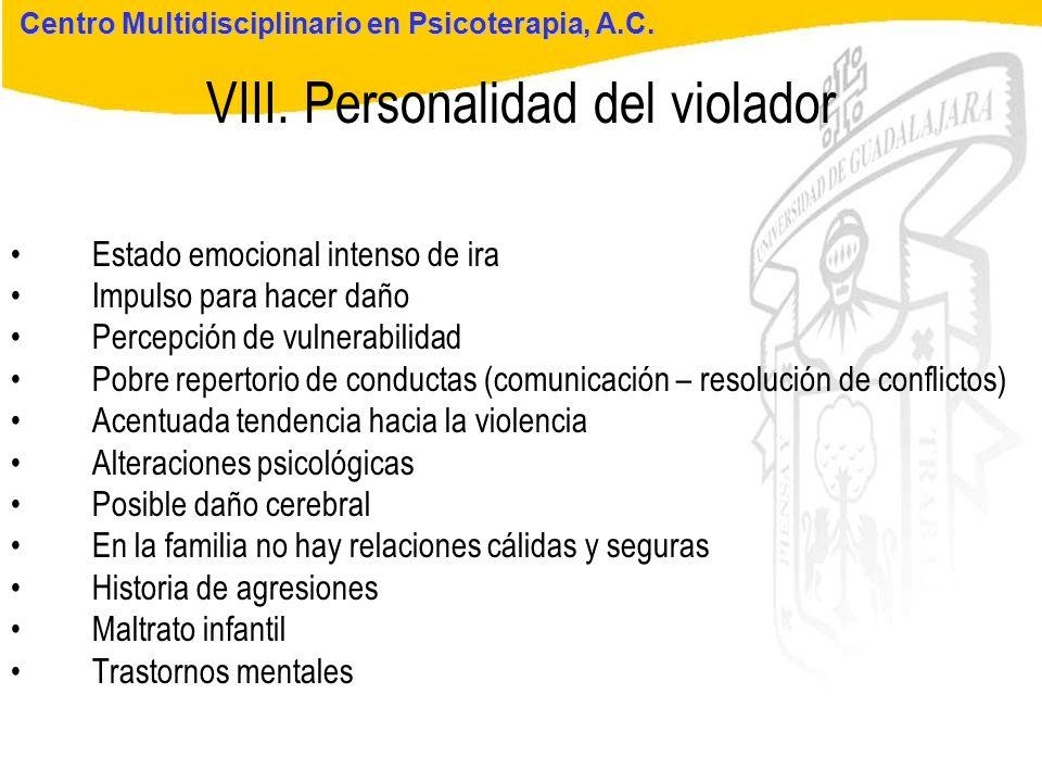 VIII. Personalidad del violador