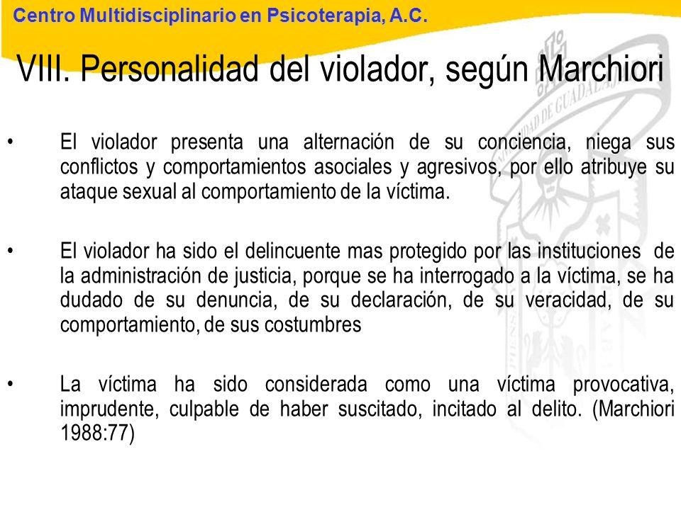 VIII. Personalidad del violador, según Marchiori