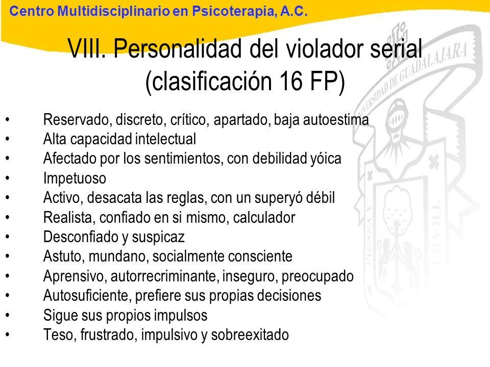 VIII. Personalidad del violador serial (clasificación 16 FP)