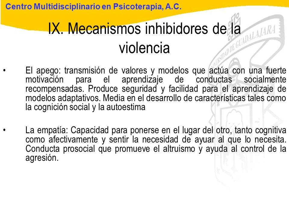 IX. Mecanismos inhibidores de la violencia
