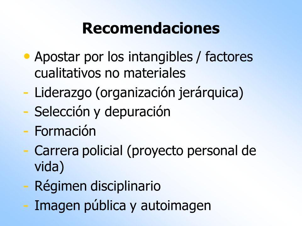 Recomendaciones Apostar por los intangibles / factores cualitativos no materiales. Liderazgo (organización jerárquica)