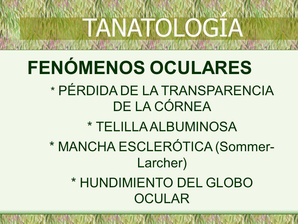 TANATOLOGÍA FENÓMENOS OCULARES * TELILLA ALBUMINOSA