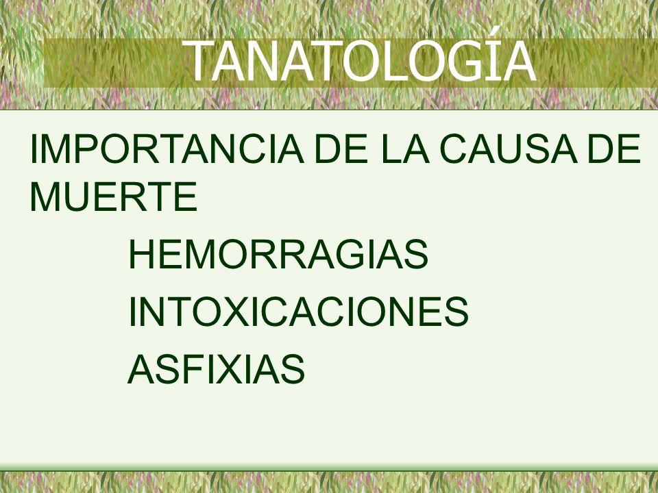 TANATOLOGÍA IMPORTANCIA DE LA CAUSA DE MUERTE HEMORRAGIAS