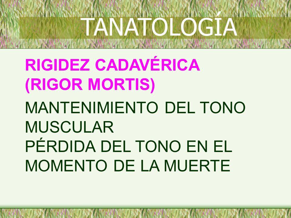 TANATOLOGÍA RIGIDEZ CADAVÉRICA (RIGOR MORTIS)