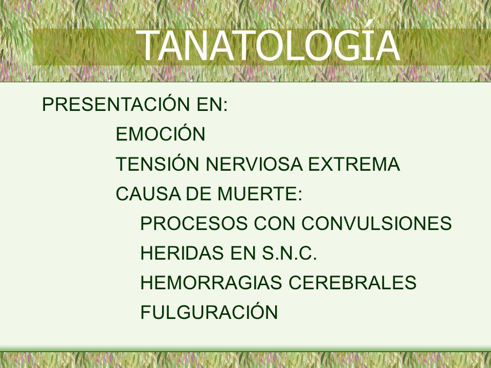 TANATOLOGÍA PRESENTACIÓN EN: EMOCIÓN TENSIÓN NERVIOSA EXTREMA
