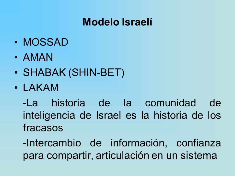 Modelo Israelí MOSSAD. AMAN. SHABAK (SHIN-BET) LAKAM. -La historia de la comunidad de inteligencia de Israel es la historia de los fracasos.