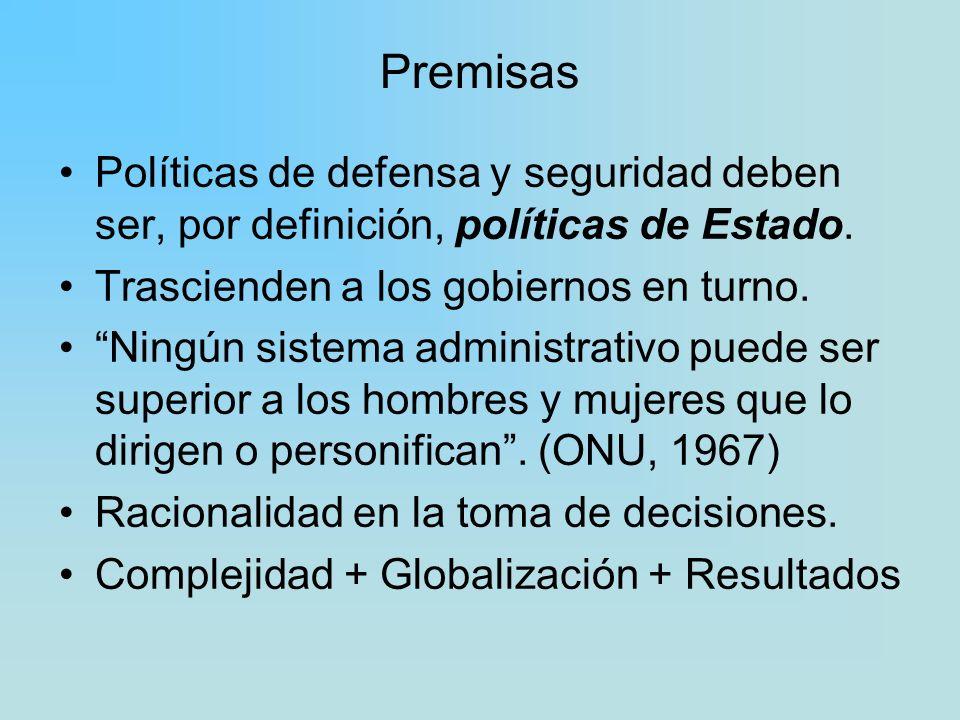 Premisas Políticas de defensa y seguridad deben ser, por definición, políticas de Estado. Trascienden a los gobiernos en turno.