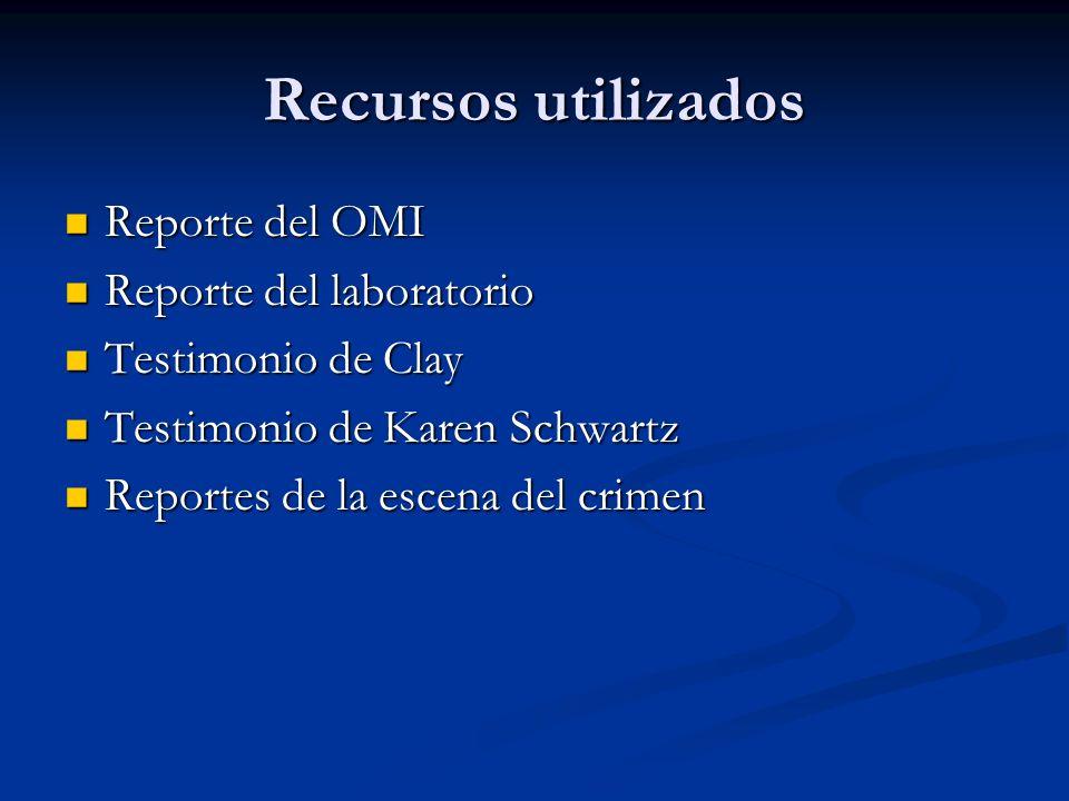 Recursos utilizados Reporte del OMI Reporte del laboratorio