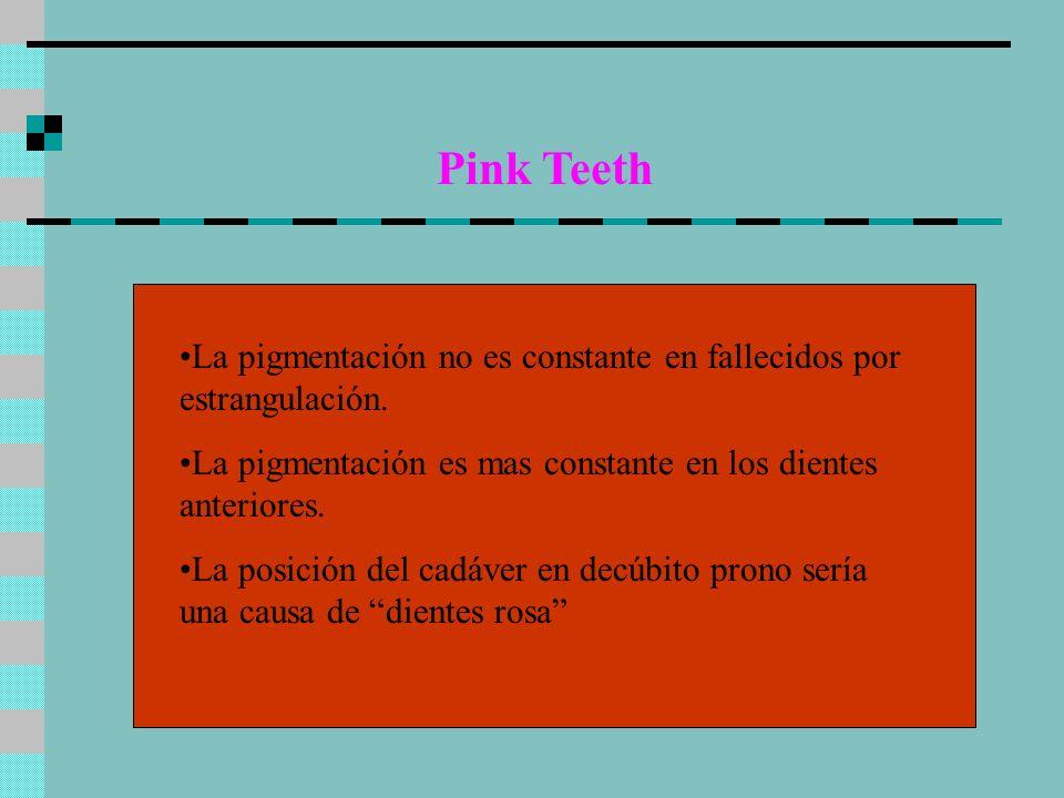 Pink Teeth La pigmentación no es constante en fallecidos por estrangulación. La pigmentación es mas constante en los dientes anteriores.