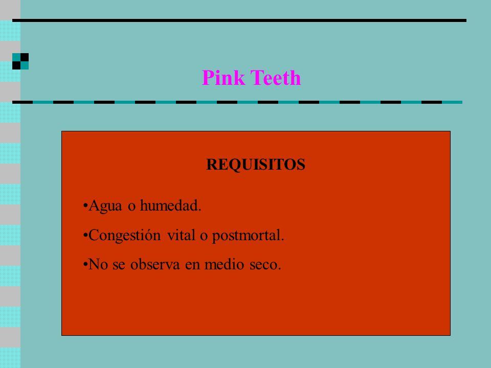 Pink Teeth REQUISITOS Agua o humedad. Congestión vital o postmortal.