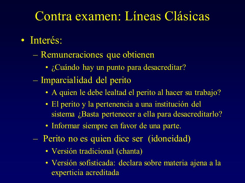Contra examen: Líneas Clásicas